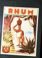 Ancienne Etiquette De Rhum - RHUM DISTILLERIE DOMAINE DE FLINES  (DDF Tournai) - Illustration  Femme Créole - Rhum