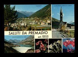 C3615 VALDIDENTRO - SALUTI DA PREMADIO (SONDRIO) - PANORAMA, CHIESA SAN GALLO, DIGA CANCANO E FIORI - EDIZ. SOSIO BORMIO - Italia