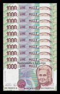 Italia Italy Lot Bundle 10 Banknotes 1000 Lire M. Montessori 1990 Pick 114a UNC - [ 2] 1946-… : República