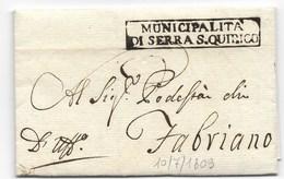 PERIODO NAPOLEONICO - DA SERRA SAN QUIRICO A FABRIANO - 10.7.1809. - 1. ...-1850 Prephilately