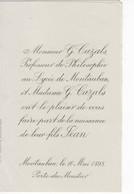 899   Faire Part Naissance 10 Mai 1898 CAZALS Jean  Professeur Philosophie Lycée De Montauban 82 Porte Du Moustier - Birth & Baptism