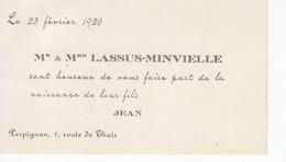 898   Faire Part Naissance 23 Février 1926 LASSUS MINVIELLE  JEAN    Perpignan 66 - Birth & Baptism