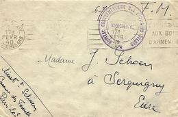 """1940- Enveloppe De Paris En F M  """" HÔPITAL COMPLEMENTAIRE DES ETUDIANTS BELGES """" - Weltkrieg 1939-45"""
