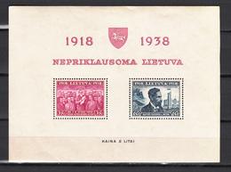 Lietuva Lithuania Litauen Lituanie Litouwen 1939 20 Years Of Republic ,MH/Ongebruikt(L3478) - Lituanie