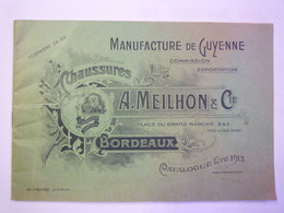 """2020 - 5749  CATALOGUE PUB  """"CHAUSSURES A. MEIKHON & Cie  Bordeaux""""  (40 Pages)   (Eté 1913)   XXX - Publicités"""