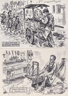 """Lot De 4 Cartes De L'Illustrateur """" HOMUALK """" - Vieux Métiers - Bourrelier, Forgeron, Rémouleur, Cercliers Sur Barriques - Craft"""
