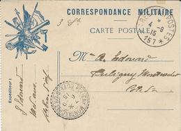1915- C P F M  Du S P 157 Pour Puligny Montrachet - Marcophilie (Lettres)