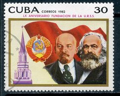 Y85 CUBA 1982 2713 60th Anniversary Of The Formation Of The USSR. V.I. Lenin. Karl Marx. Coat Of Arms Of The USSR. Kreml - Lenin