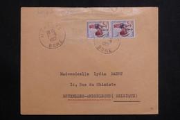 ALGÉRIE - Affranchissement Paire Coq De Decaris Surchargé EA De Morsott Sur Enveloppe En 1962 Pour Bruxelles - L 61165 - Algerien (1962-...)