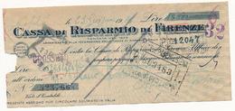 1947 FIRENZE ASSEGNO CASSA DI RISPARMIO DI FIRENZE - Cheques & Traveler's Cheques