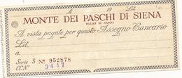 ANNI 50 ASSEGNO MONTE DEI PASCHI DI SIENA NUOVO - Cheques & Traveler's Cheques