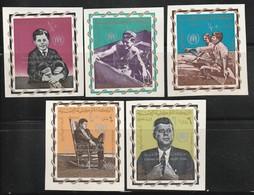 YEMEN -  N°381/5  ** NON DENTELE (1967) J.F.Kennedy / Jordan Refugees Relief Fund - - Yemen