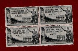 MARCA DA BOLLO/REVENUE - LIBRI UNICI PER SCUOLE ELEMENTARI A - XXII - QUARTINA NUOVA ** - 1900-44 Vittorio Emanuele III