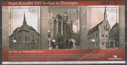 Moderne Privatpost: Mailcats Erfurt 2011. Pabstbesuch Benedikt XVI. In Erfurt. Block 6 Postfrsich - Papes