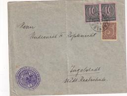 ALLEMAGNE 1923 LETTRE DE MÜNCHEN AVEC TIMBRES DE SERVICE - Oficial