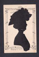 Souvenir Artistique 1909 Silhouette Femme Chapeau  Découpée Par G. Dixy  Silhouettiste Monte Carlo Ref 41751 - Silhouettes