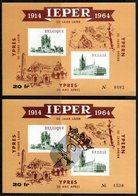 11164010 BE 1964 Ieper Ypres 1914-1964 Vignette E89 + Idem Surch. Noire 1965 Armoiries - Erinnophilie