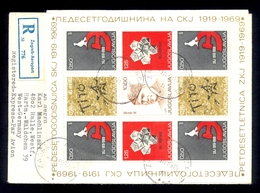 YUGOSLAVIA 1969 - Letter Sent By Registered Mail From Zagreb To Germany 1969, Franked With Complete Small Sheet. - 1945-1992 Sozialistische Föderative Republik Jugoslawien
