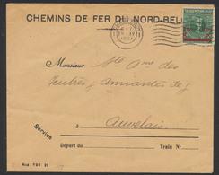 """Lettre De Service """"Chemins De Fer Du Nord-Belge"""" + N°184 Obl Mécanique """"Charleroy"""" (1921) > Auvelais. TB - Covers & Documents"""