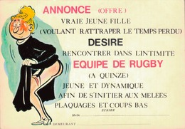 HUMOUR SEXY / ANNONCE - VRAIE JEUNE FILLE DESIRE EQUIPE DE RUGBY - Humor