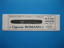 (1921) Cigares ROMANO - Jos. & Arth. JANSSENS à Gheel (Belgique) -- Cigarettes Nouvelle Américaine - LOUIS DOIZE à Liège - Publicités