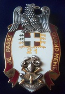 Tres Bel Insigne En ARGENT MASSIF 21 RI CANJUERS En Ecrin - Equipement