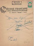 Ecole Francaise Alger Algier - Zeitungsschleife Nach Casablanca (rsA) 1957 - Retour Weil Abgereist Vorausentwertung - Argelia (1962-...)