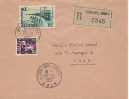 Sidi-bel-Abbes R-Brief Nach Oran - Eisenbahn Elektrifiziert 1957 - Argelia (1962-...)