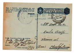 CARTOLINA POSTALE PER LE FORZE ARMATE 1942 UFFICIO MATERIALI PISA - 1900-44 Vittorio Emanuele III