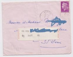Enveloppe AUROS GIRONDE 1968 Marianne De Cheffer 30 C étiquette Réexpédition Postes France SACY Yonne - 1961-....