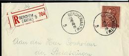 Doc. De BERCHEM (ANTW.) - 5 - Du 22/12/42 Avec N° 531 Seul Sur Lettre Rec. - 1936-1951 Poortman
