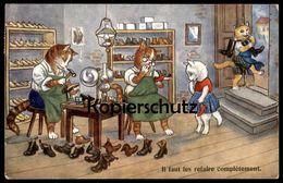 ALTE POSTKARTE KATZEN VERMENSCHLICHT Schuster Schuhmacher Schuhe Schuh Cat Cats Chat Chats Katze Postcard Cpa Kätzchen - Professions
