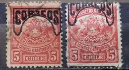 TELEGRAPH STAMP - 5 C-ERROR - VARIATION -OVERPRINT CORREOS-CHILE-1904 - Chile