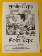 14358 - 1938 - 1988 Willy Trepp (cycliste Route Et Piste Dans Les Années 60) Cuvée Bolet-Cèpe Illustration Pécub - Ciclismo
