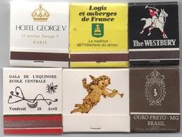 Lot De 6 Boîtes D' Allumettes : Hôtel George V Paris Inclus - Matchbox Labels
