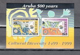 Aruba 1999,2v In Block,cultural Diversity,country Map,landkaart,landkarte,carte Du Pays,,MNH/Postfris(L3487) - Geography