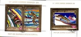 Innsbruck Olympiade 1976 Ecuat.Guinea Blocks 162+163 O 15€ 4Bob Skisprung Langlauf Gold Sheets Bf Äquatorial Africa - Äquatorial-Guinea
