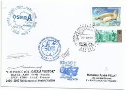 YT 6752 Phoque - YT 6765 Palais Royal - Expédition Polaire - Vostok - 20/12/2006 - Lettres & Documents