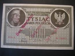 Polen- 1000 Marek Polskich III Ser. A. Mit Rotem Aufdruck Bez Wartosei, 17. Mai 1919 - Poland