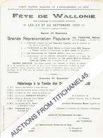 Affiche (21,5 X 27,5 Cm)  LIEGE : FETE DE WALLONIE LES 23 ET 24 SEPTEMBRE 1922 - Plakate