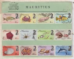 20A806 MAURITIUS MAURICE Poissons Molusques LOT DE 12 TIMBRES Oblitérés - Mauritius (1968-...)