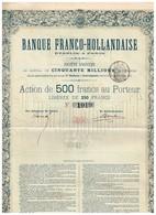 Titre Ancien - Banque Franco-Hollandaise Etablie à Paris - Société Anonyme - Titre De 1874 - - Banque & Assurance