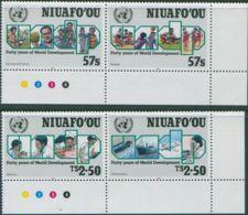 Niuafo'ou 1990 SG148a-150a UN World Development Corner Set MNH - Tonga (1970-...)
