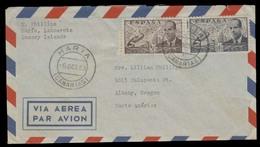 E-PROVINCIAS. 1953 (6 Oct). Haria / Lanzarote / Gran Canaria - USA. Sobre Franqueo Via Aerea. Bonito E Inusual. Opportun - Espagne