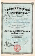 Titre Ancien - Crédit Foncier Continental - Société Anonyme - Titre De 1928 - - Banque & Assurance
