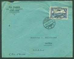 LUXEMBOURG. 1938 (4 Dec). Rumelange - Ivory Coast / Gagnoa (21 Dec). 1 3/4 Fr Blue Single Fkd Env V Scarce Pre - War Des - Luxembourg