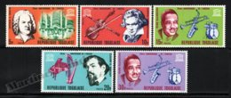 Togo 1967 Yvert 531-35, Music. Famous People. Composers & Instruments, UNESCO 20th Anniv - MNH - Togo (1960-...)