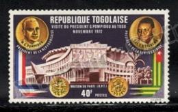 Togo 1972 Yvert 759, Politics. Famous People. Presidents Pompidou & Eyadema - MNH - Togo (1960-...)