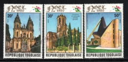 Togo 1980 Yvert 1008-10, Christmas. Architecture. Cathedrals & Churches - MNH - Togo (1960-...)