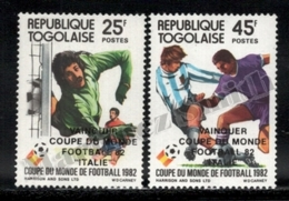 Togo 1983 Yvert 1090-91, Sports. Football, Spain 82 FIFA World Cup. Winner Italy - Overprinted - MNH - Togo (1960-...)